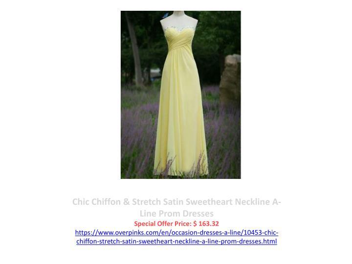 Chic Chiffon & Stretch Satin Sweetheart Neckline A-Line Prom Dresses