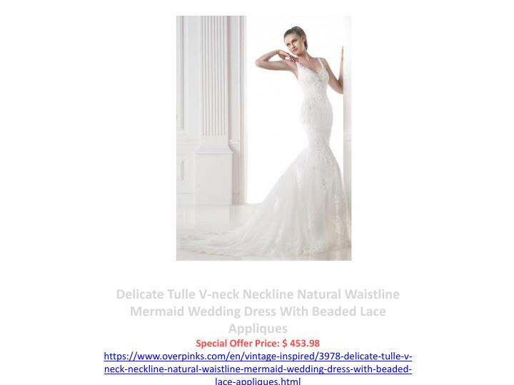 Delicate Tulle V-neck Neckline Natural Waistline Mermaid Wedding Dress With Beaded Lace Appliques