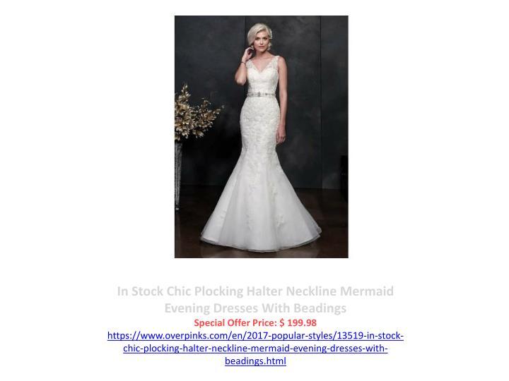 In Stock Chic Plocking Halter Neckline Mermaid Evening Dresses With Beadings