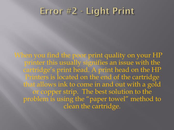 Error #2 - Light Print