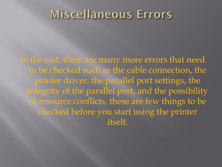 Miscellaneous Errors