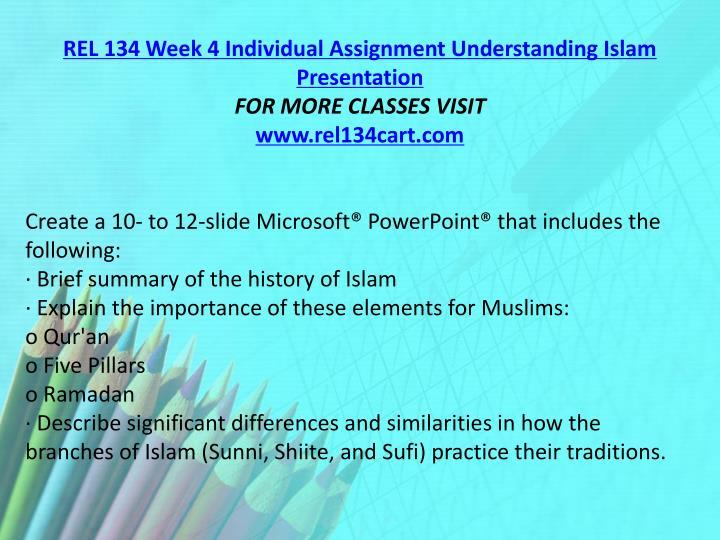 REL 134 Week 4 Individual Assignment Understanding Islam Presentation