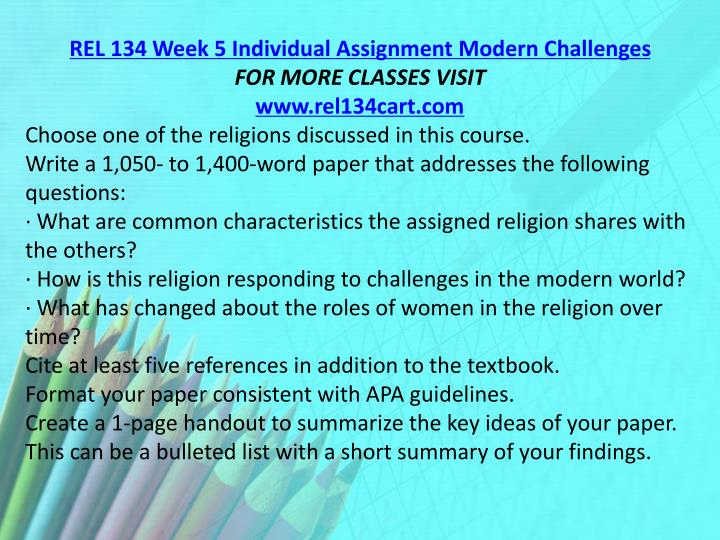 REL 134 Week 5 Individual Assignment Modern Challenges