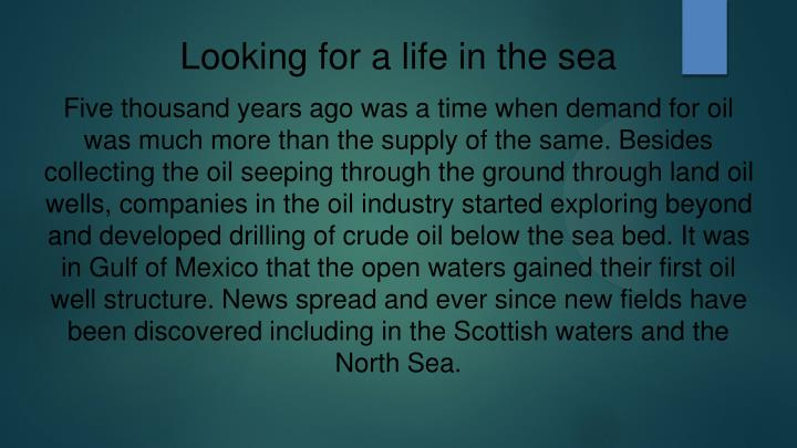 Looking for a life in the sea