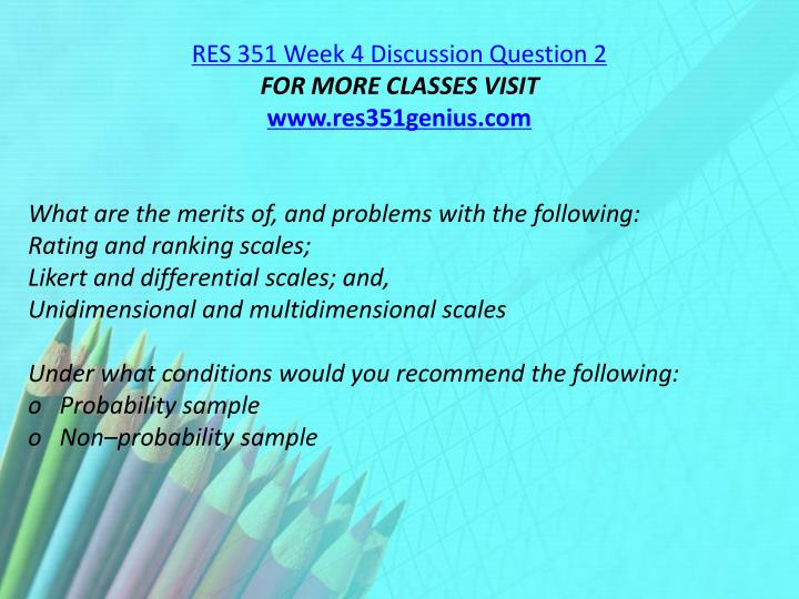 RES 351 Week 4 Discussion Question 2