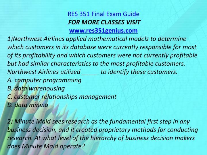 RES 351 Final Exam Guide