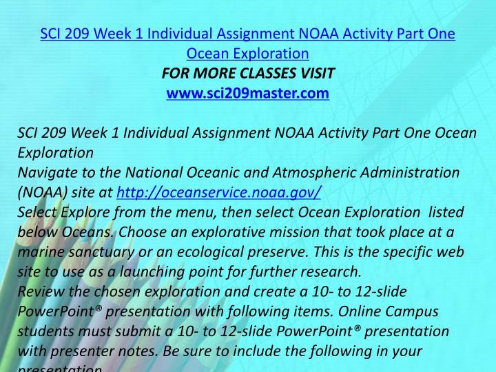 SCI 209 Week 1 Individual Assignment NOAA Activity Part One Ocean Exploration