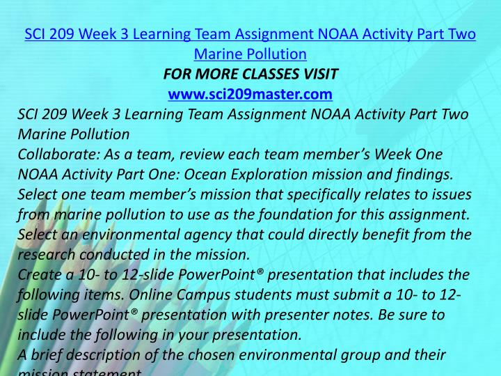 SCI 209 Week 3 Learning Team Assignment NOAA Activity Part Two Marine Pollution