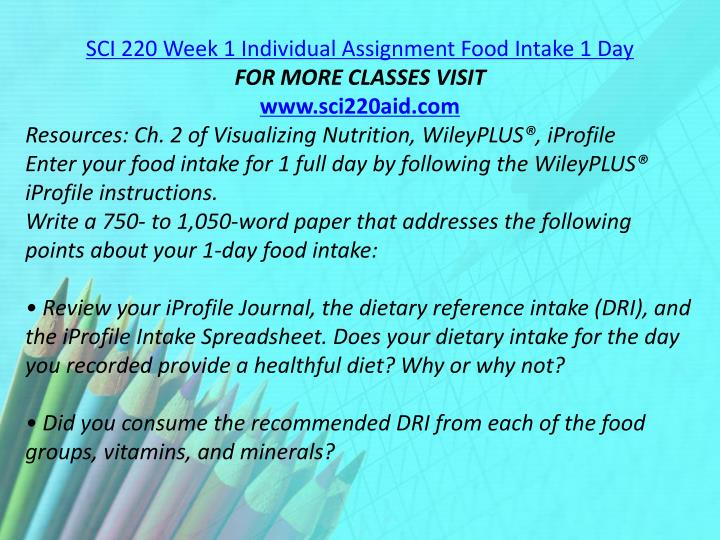 SCI 220 Week 1 Individual Assignment Food Intake 1 Day