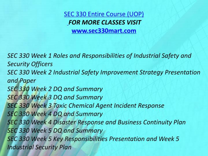 SEC 330 Entire Course (UOP)