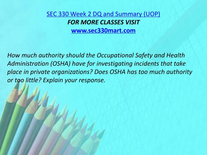SEC 330 Week 2 DQ and Summary (UOP)