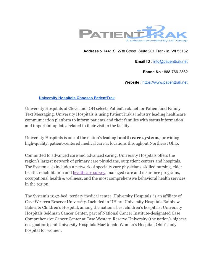 PPT - University Hospitals Chooses PatientTrak PowerPoint