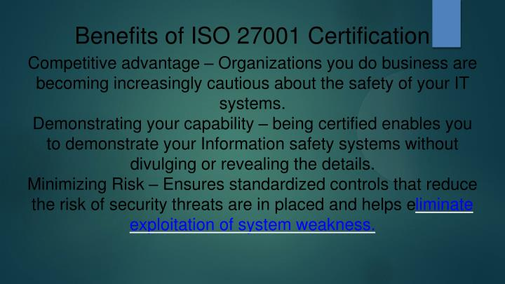 Benefits of ISO 27001 Certification