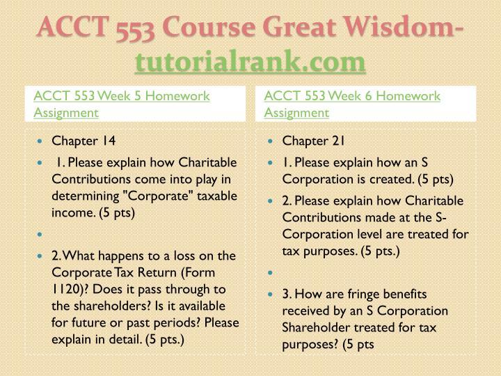ACCT 553 Week 5 Homework Assignment
