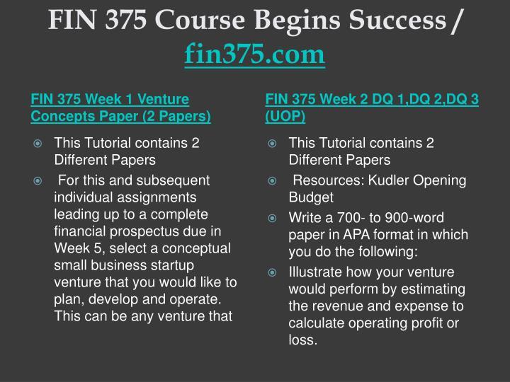 Fin 375 course begins success fin375 com2