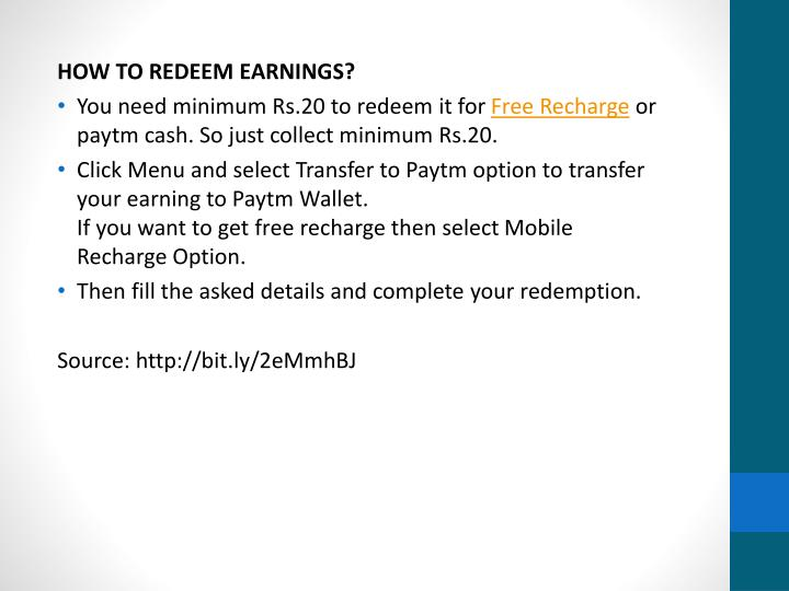 HOW TO REDEEM EARNINGS?