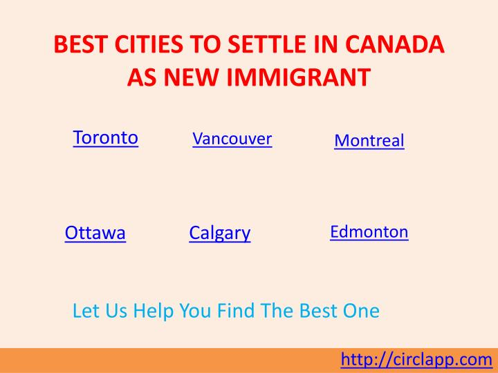 Best cities to settle in canada as new immigrant
