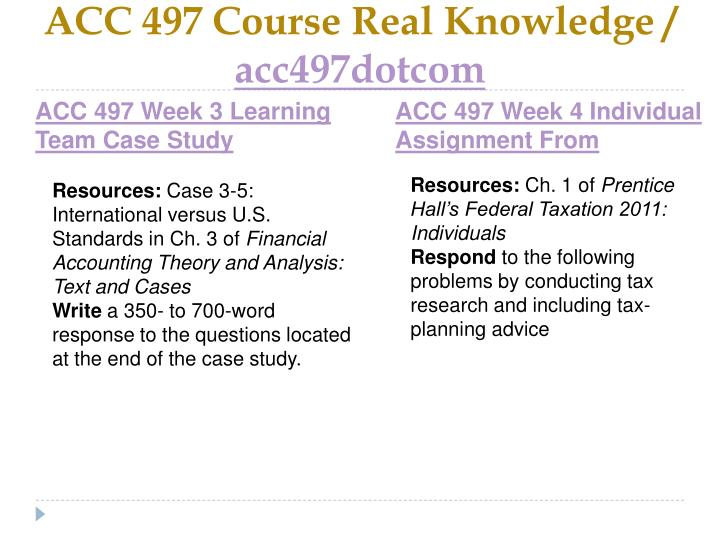 ACC 497 Course Real Knowledge /