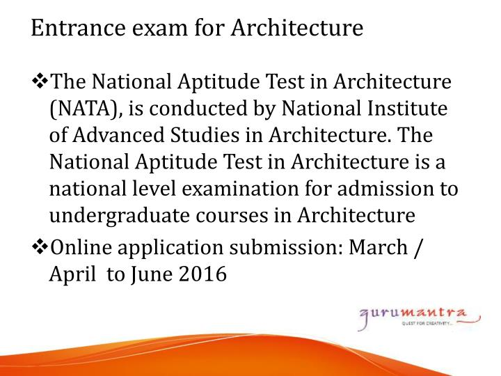 The National Aptitude Test in Architecture (NATA), is conducted by National Institute of Advanced Studies in Architecture. The National Aptitude Test in Architecture is a national level examination for admission to undergraduate courses in Architecture