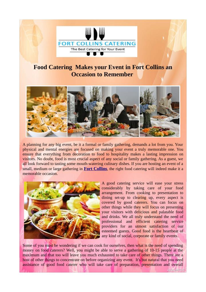 Food Catering  Makes your Event in Fort Collins an