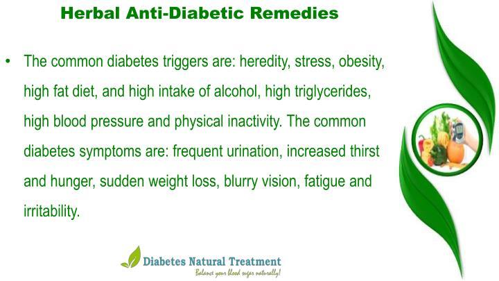 Herbal Anti-Diabetic Remedies