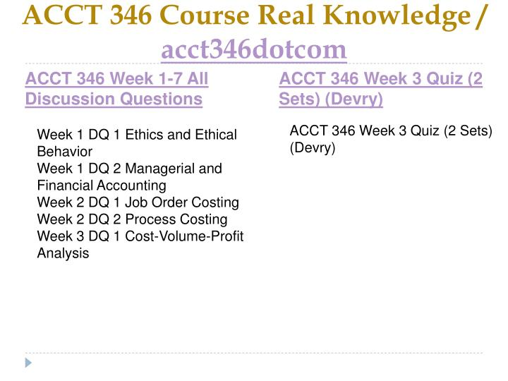 Acct 346 course real knowledge acct346dotcom2