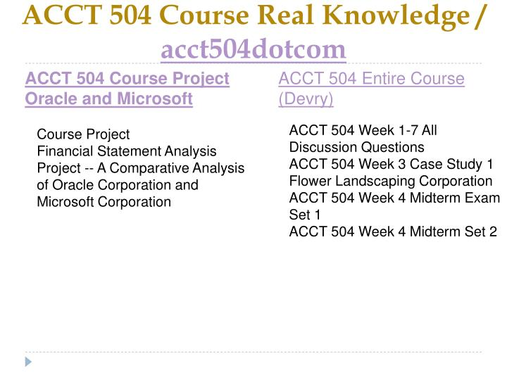 Acct 504 course real knowledge acct504dotcom1