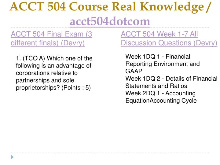 Acct 504 course real knowledge acct504dotcom2