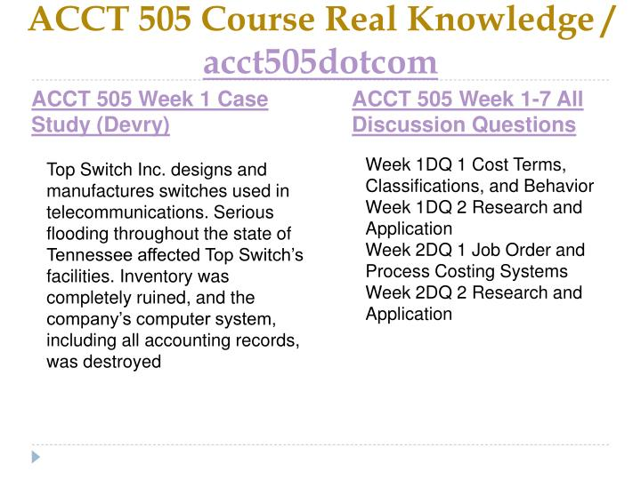 Acct 505 course real knowledge acct505dotcom2
