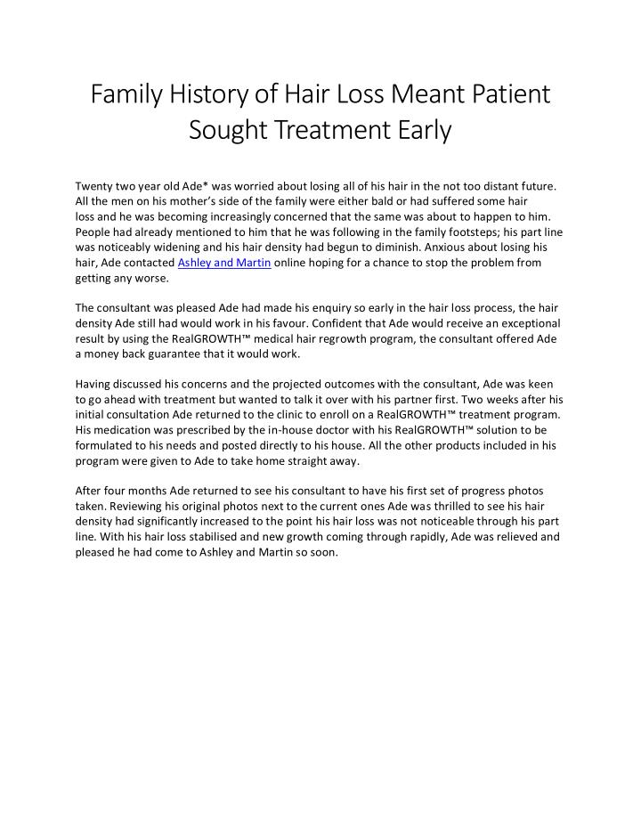 Family History of Hair Loss Meant Patient