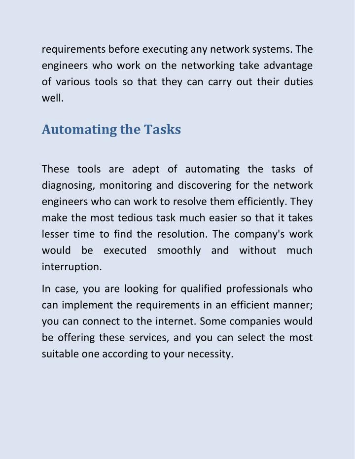 requirements before executing any network systems. The