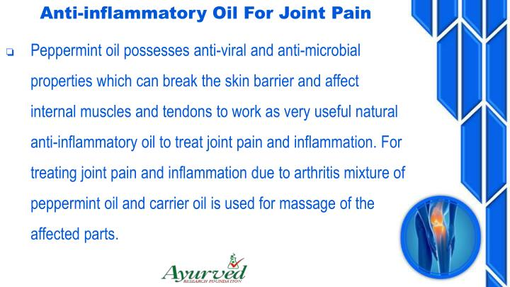Anti-inflammatory Oil For Joint Pain