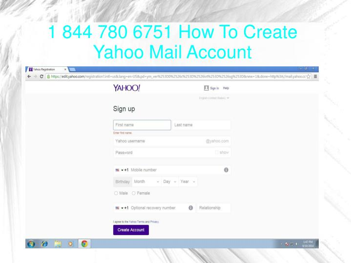1 844 780 6751 how to create yahoo mail account