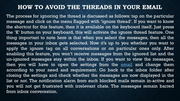 How to Avoid the Threads in your Email
