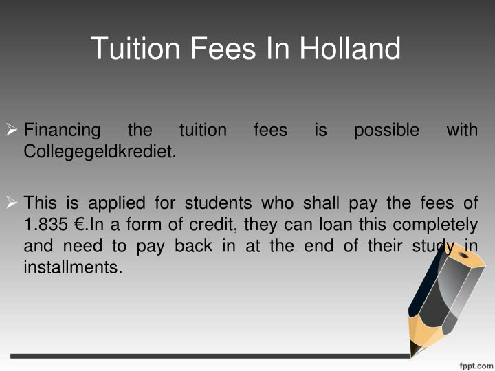 Tuition Fees In Holland