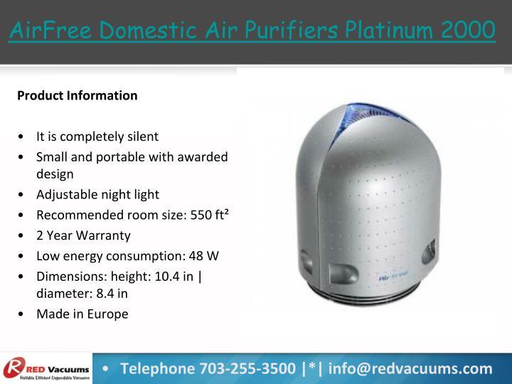 AirFree Domestic Air Purifiers Platinum 2000
