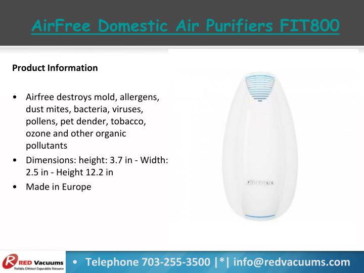 AirFree Domestic Air Purifiers FIT800