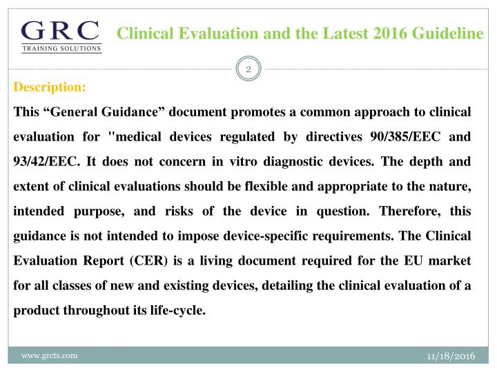 Clinical evaluation and the latest 2016 guideline