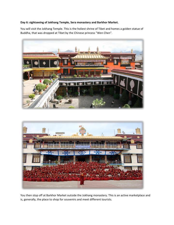 Day 6: sightseeing of Jokhang Temple, Sera monastery and Barkhor Market.