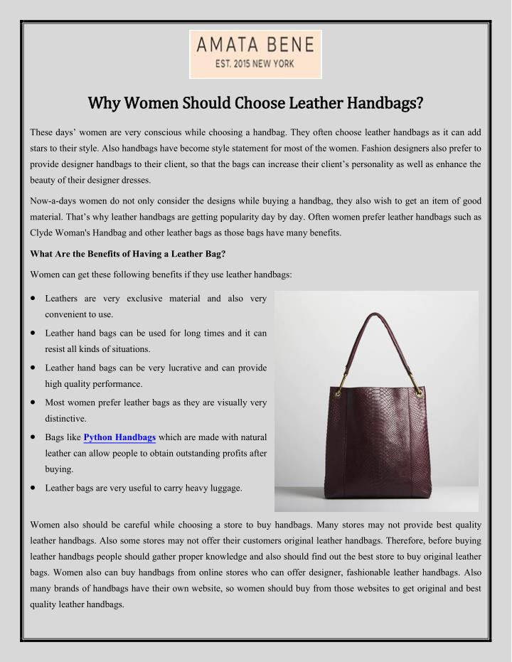 Why Women Should Choose Leather Handbags Point Ppt Presentation