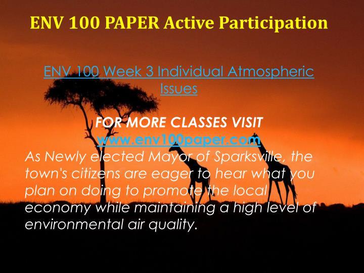 ENV 100 PAPER Active Participation