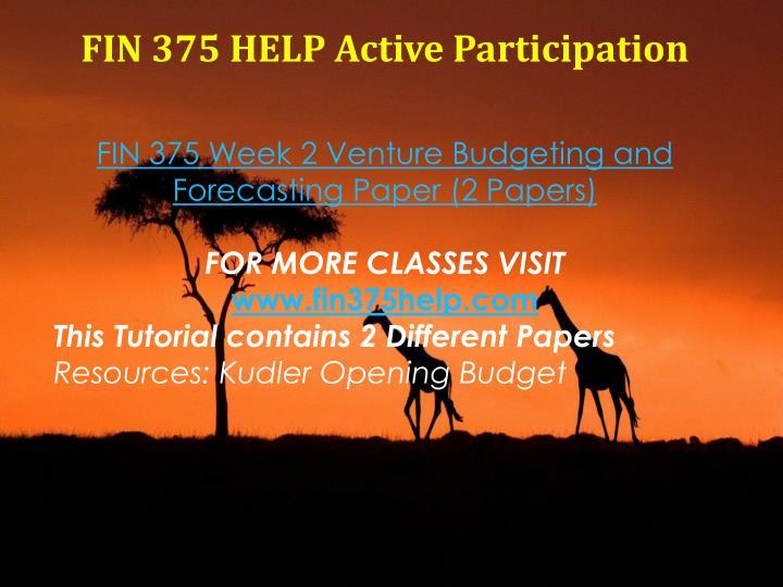 FIN 375 HELP Active Participation