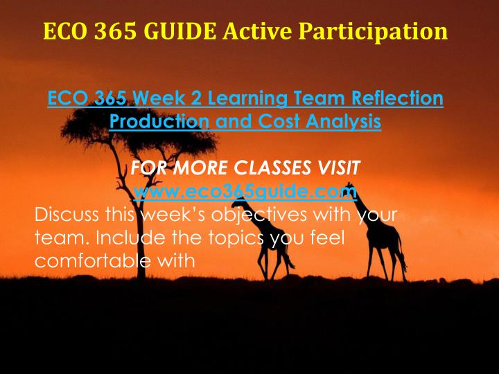 week 2 reflection eco 365