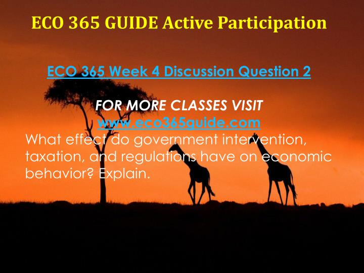 eco 365 week 1 discussion questions Eco 365 week 1 dq 1 what is economics what role does economics play in your personal and ask questions from the community help others by answering questions earn cash when you eco 365 week 1 dq 2 what is the difference between a movement along and shift of the demand curve.