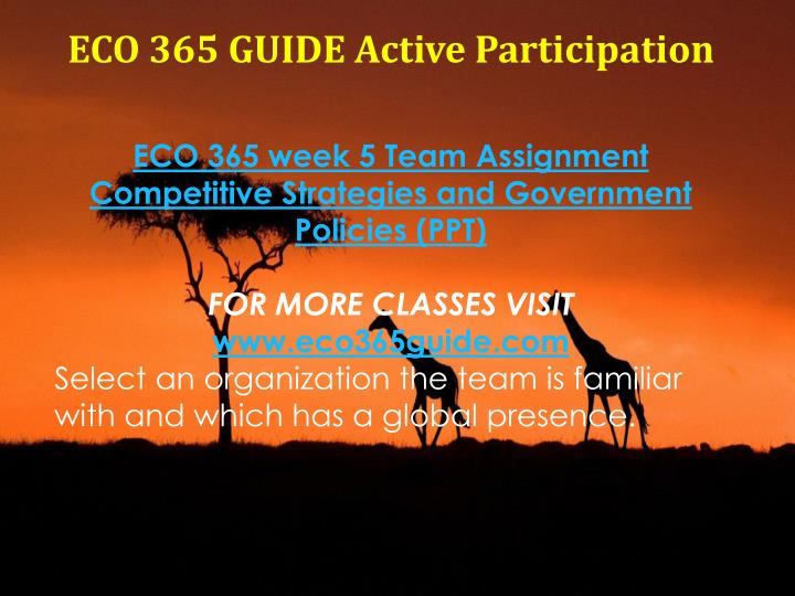 eco 365 week 3 team assignment current marketing conditions competitive analysis