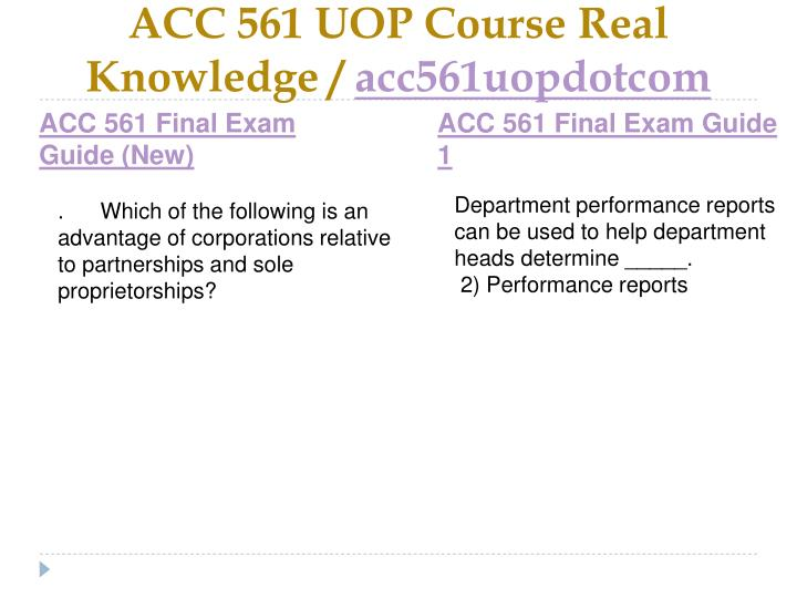 Acc 561 uop course real knowledge acc561uopdotcom2