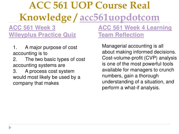 acc 561 assignment week 4 cvp Acc 561 week 5 individual assignment cost-volume-profit analysis acc 561 week 5 individual assignment cost-volume-profit acc 561 week 4 individual assignment.