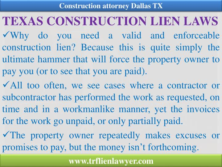 Texas construction lien laws
