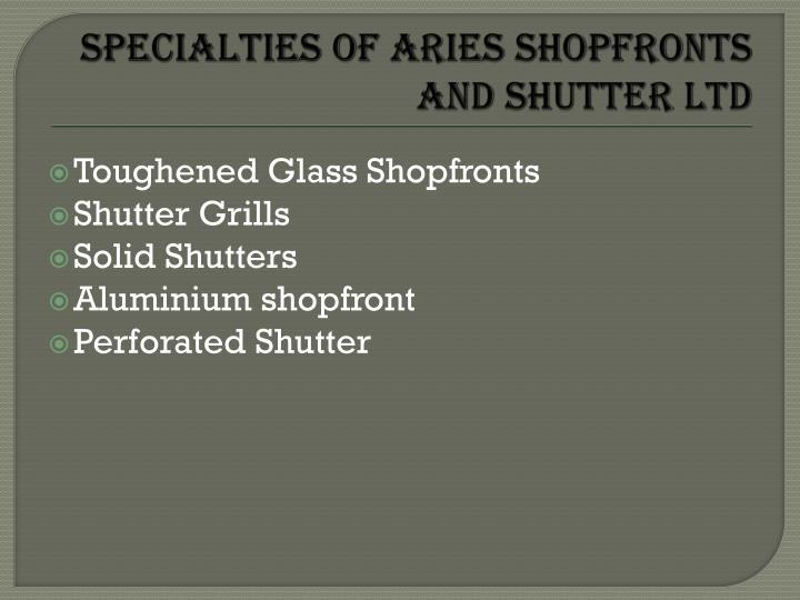 Specialties of Aries