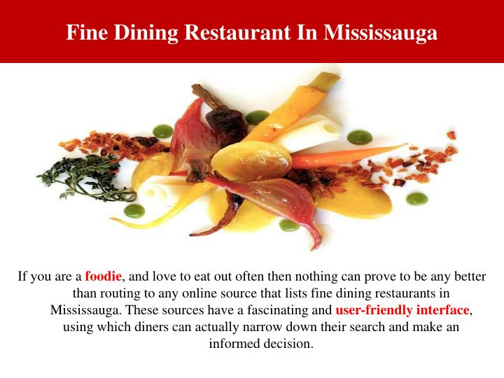 Fine dining restaurant in mississauga